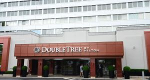 DoubleTree By Hilton: Blackstone is selling the hotel for €180 million and US groups Hyatt Hotels and Host Hotels & Resorts, and the Abu Dhabi Investment Authority are speculated to be in the mix. Photograph: Dara Mac Donaill