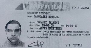 A reproduction of the residence permit of Mohamed Lahouaiej-Bouhlel, the man who rammed his truck into a crowd celebrating Bastille Day in Nice. Photograph: AFP/Getty Images