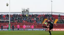 Munster Ian Keatley kicks at goal in front of a scant crowd during the European Champions Cup Round 5 tie against Stade Francais in January. Photograph: Ryan/Byrne.