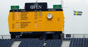 The leaderboard during the third round on day three of the 145th Open Championship at Royal Troon. Photograph: Andrew Redington/Getty Images