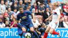 Henrikh Mkhitaryan made his first appearance in a Manchester United shirt as José Mourinho's tenure got off to a winning start at Wigan Athletic. Photograph: PA