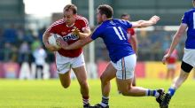 Brian O'Driscoll battles with James McGiveny during Cork's qualifier win over Longford. Photograph: Inpho/ Tom Beary