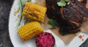 Lilly Higgins baked barbecue ribs with corn on the cob
