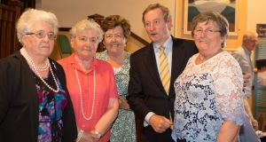 Enda Kenny with his aunts Una Blain, Collette McNelis, Breege Connor and Christina Curran when he visited Glenties to attend the MacGill Summer School. Photograph: North West Newspix