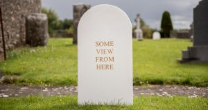 One of Alan Counihan's styrofoam headstones. Photograph: Matthew Gidney