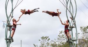 Renowned French company Les P'tit Bras performing their new circus and aerial show The Scent of Sawdust at Eyre Square as part of Galway International Arts Festival. Photograph: Joe O'Shaughnessy