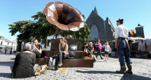 Sculptor Donnacha Cahill's giant pop-up audio visual sculpture, The Gramophone,  at the market outside St Nicholas' Collegiate Church  as part of Galway International Arts Festival. Photograph: Joe O'Shaughnessy