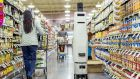 A prototype inventory checker, created by Bossa Nova Robotics, glides through the aisles of a supermarket, identifying products via their barcode and alerting shoppers by emitting birdsong chirps