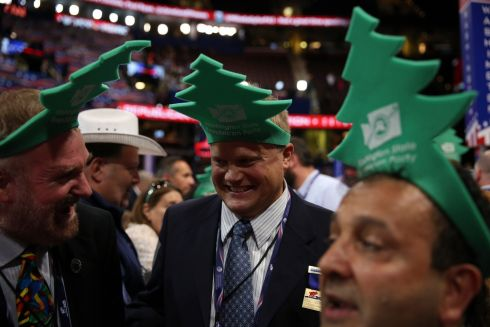 Members of the Washington state delegation on the floor on day two of the Republican National Convention, at the Quicken Loans Arena in Cleveland, July 19, 2016. Photograph: Damon Winter/The New York Times