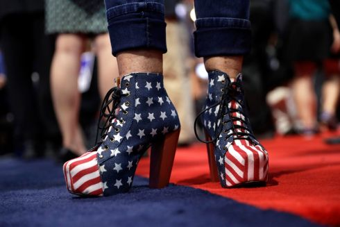 A delegate shows off her shoes on the convention floor during the second day session of the Republican National Convention in Cleveland, Tuesday, July 19, 2016.  Photograph: John Locher /AP