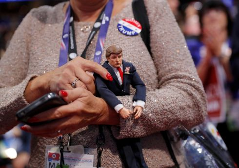 A delegate holds a Donald Trump doll during the second day of the Republican National Convention in Cleveland, Ohio, U.S. July 19, 2016. Photograph: Brian Snyder / Reuters
