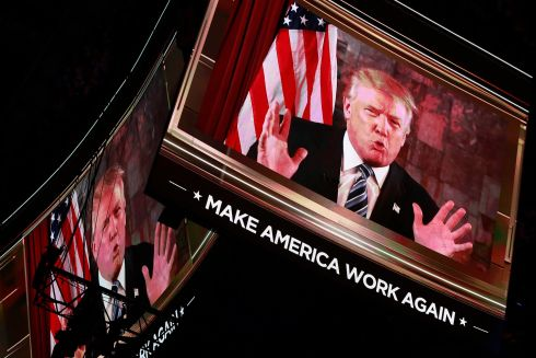 Donald Trump delivers an address via video to delegates on the second day of the 2016 Republican National Convention at Quicken Loans Arena in Cleveland, Ohio, USA, 19 July 2016. The four-day convention is expected to end with Donald Trump formally accepting the nomination of the Republican Party as their presidential candidate in the 2016 election.  EPA/DAVID MAXWELL