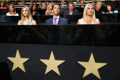 Ivanka Trump, Donald trump Jr and his wife Vanessa attend the second session of the Republican National Convention in Cleveland, Ohio, U.S. July 19, 2016.  Photograph: Jonathan Ernst /Reuters