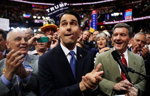 Wisconsin Gov. Scott Walker along with delegates from Wisconsin take part in the roll call in support of Sen. Ted Cruz (R-TX) on the second day of the Republican National Convention on July 19, 2016 at the Quicken Loans Arena in Cleveland, Ohio. Photograph: Joe Raedle/Getty Images