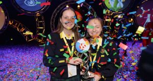 Diana Bura and Maria Louise Fufezan, from Loreto Secondary School, Balbriggan, overall winners and BT Young Scientists of the Year. Photograph: Alan Betson