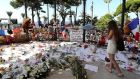 A   makeshift memorial in tribute to the victims of the   Bastille Day attack  in Nice. Photograph:  Valery Hache/Getty Images/AFP