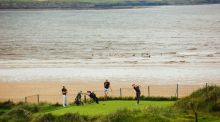 Richard Knightly of Royal Dublin plays the fourth hole at the second round of the South of Ireland Open Championship at Lahinch Golf Club on Thursday. Photograph: Brian Arthur.