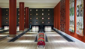 Bowling alley and room at the Ham Yard Hotel,  London