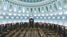The Reading Room of the National Library of Ireland, whose printed material encompasses about one million books, hundreds of newspapers, thousands of periodicals and more than 150,000 maps, as well as official publications and printed music scores