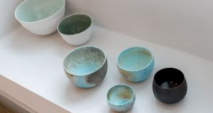 White bowls by Derek Wilson, Blue Bowls by Jack Doherty and black bowl by Sara Flynn. Photograph:  Dylan Vaughan