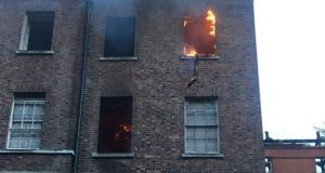 Flames are seen at  Belcamp College on Friday. Photograph: Dublin Fire Brigade