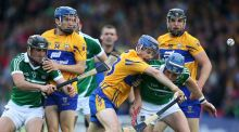 Clare's Podge Collins (centre) is also down to play football on Saturday. Photograph: Cathal Noonan/Inpho.
