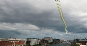 AIR SHOW: The Italian military aerobatic display team, the Frecce Tricolori, performs a fly-past over Dublin ahead of the Bray Air Show. Photograph: Dave Meehan/The Irish Times
