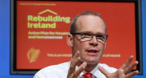 Simon Coveney at the launch of the Government's housing plan. The package for first-time buyers represents a massive subsidy for an industry that is fundamentally uncompetitive and is now playing chicken with the Government. Photograph: Nick Bradshaw
