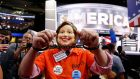 Michigan delegate Wes Nakagiri wears a Hillary Clinton mask, and handcuffs, before the start of the final day of the Republican National Convention in Cleveland, Ohio. Photograph: Michael Reynolds/EPA