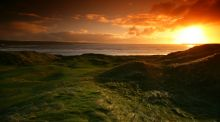 The sun sets over Lahinch Golf Club where the South of Ireland Championship continues. Photo:Inpho