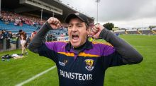 Wexford manager Liam Dunne celebrates at the final whistle of their round 2 qualifier win over Cork. Photo: Cathal Noonan/Inpho