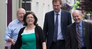 Speakers Conor Brady, Josephine Feehily, Jim O'Callaghan  and Robert Olsen  at Glenties. Photograph: North West Newspix
