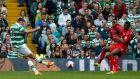 Ireland's Eoghan O'Connell scores for Celtic against Leicester. Photograph: Craig Brough/Reuters