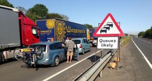 Queuing traffic on the A20 near Dover in Kent, as terror fears have led to severe delays at the port of Dover reportedly leaving hundreds of motorists stranded overnight after security checks were heightened at the request of French authorities. Photograph: Joerg Walther/PA Wire