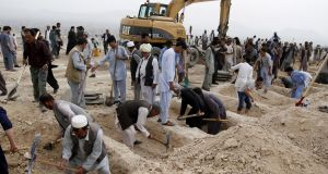 Graves are dug for Hazara victims of the suicide bomb attack in Kabul on July 24th. At least 80 were killed and hundreds injured. Photograph: EPA/Jawad Jalali