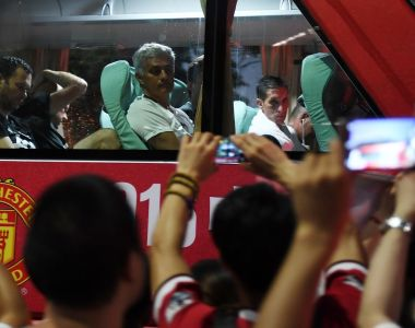 Manchester United coach Jose Mourinho  in Beijing. He is in no mood to go along with the fiction that the pre-season  games  mean anything.  Photograph: Greg Baker/AFP/
