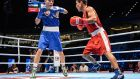 Ireland's Michael Conlan (left) in action against Murodjon Akhmadaliev, from Uzbekistan, at the 2015 AIBA World Boxing Championships in Doha, Qatar. Photograph: INPHO/Francis Myers.