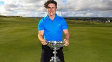 Conor Purcell of Portmarnock with the trophy after winning the South of Ireland Amateur Championship at Lahinch Golf Club. Photograph: Thos Caffrey/Golffile.
