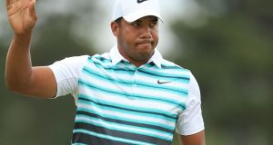 Jhonattan Vegas of Venezuela reacts after making his birdie putt on the 18th green during the final round of the RBC Canadian Open at Glen Abbey Golf Club. Photograph: Vaughn Ridley/Getty Images