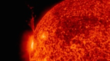 Solar material bursts from the sun in close-up footage