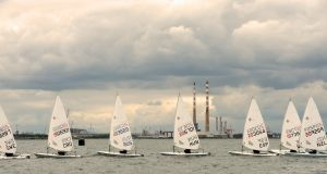 SAIL AWAY: Competitors take part in the KBC Laser Radial World Championships 2016 in Dublin Bay.  Photograph: Eric Luke/The Irish Times