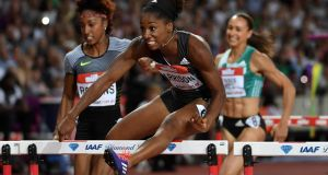 Kendra Harrison wins the women's 100m hurdles in a world record 12.20 seconds at the London Anniversary Games  at the Olympic Stadium. Photograph: Kirby Lee/USA Today