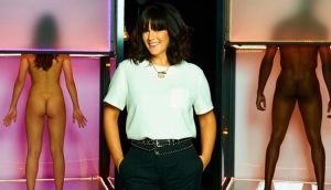 Rock bottoms: Anna Richardson with a pair  of naked suitors on Naked Attraction. Photograph: Channel 4