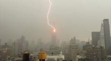 Lightning strikes the Empire State Building in spectacular footage