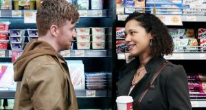'Fair City' characters Emmet (Daithí Mac Suibhne) and Ama (Donna Anita Nikolaisen) meet in  Spar, which has a product placement deal with RTÉ.