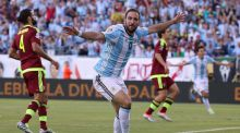 Gonzalo Higuain: Juventus have triggered the 28-year-old's release clause of €90 million, placing him behind only Real Madrid pair Gareth Bale and Cristiano Ronaldo on the all-time record list. Photograph: Jim Rogash/Getty Images