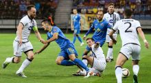 Dundalk's Patrick McEleney competes for the ball against Bate Borisov on Tueday night in Belarus. Photograph: Inpho