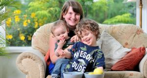 Ciara Norton  with her children, Oran (14 months) and Rian (3) in Kanturk, Co Cork. Photograph: Daragh Mc Sweeney/Provision