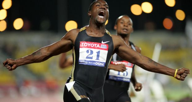 Justin Gatlin of the United States won the 2004 Olympic Games 100m before being banned for doping. Photograph: Reuters.