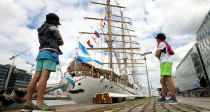 Diego (8)and Patricio Appendino (10) from the Docklands Dublin, at the Tall Ship Frigate A.R.A Libertad in Dublin. Photograph: Dara Mac Donaill / The Irish Times